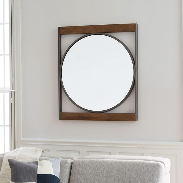 Industrial metal wood round wall mirror o