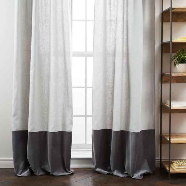 Belgian flax linen velvet colorblock curtain midnight rega o