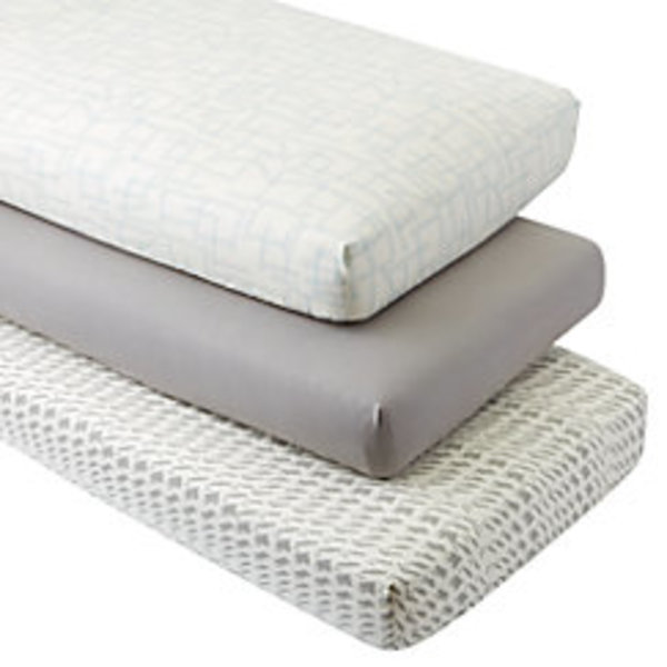 Organic daily sketch blue crib fitted sheets set of 3