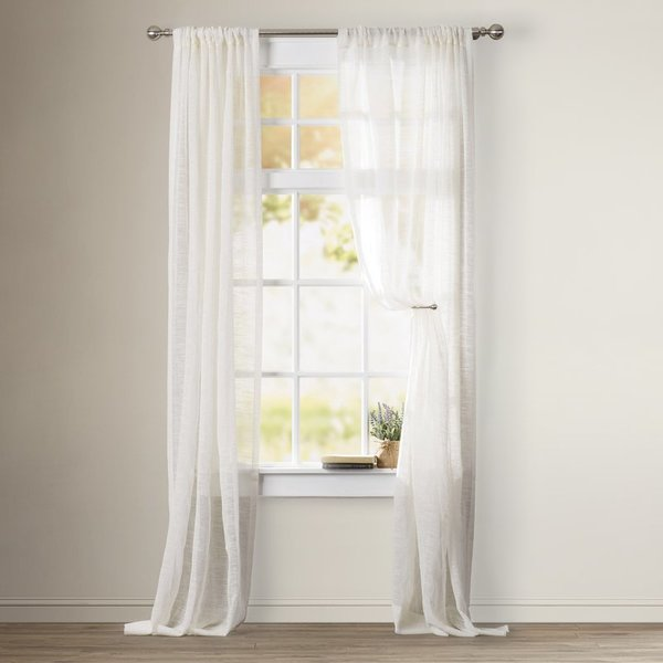 Swansea solid sheer rod pocket single curtain panel