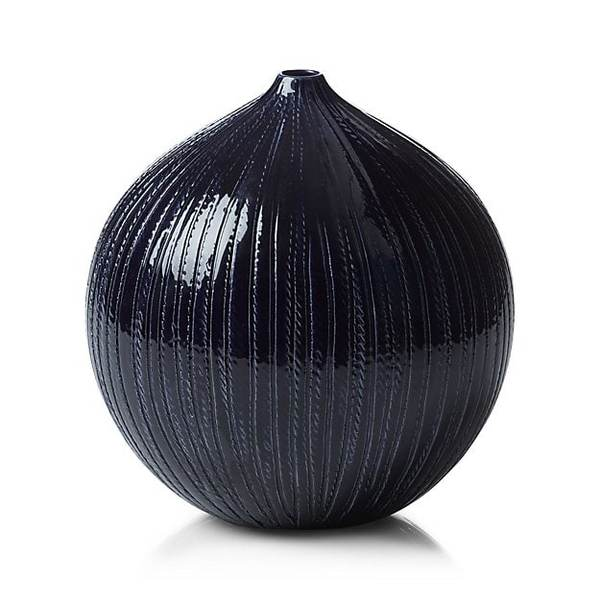 Rope indigo blue ceramic vase