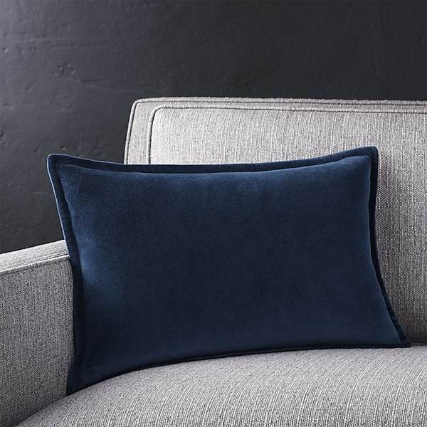 Brenner indigo blue 18x12 velvet pillow