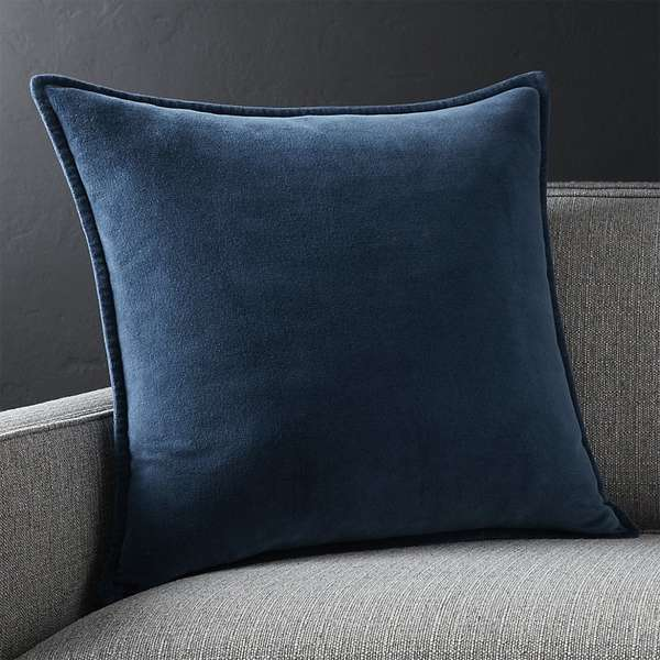 Brenner indigo blue 20 velvet pillow