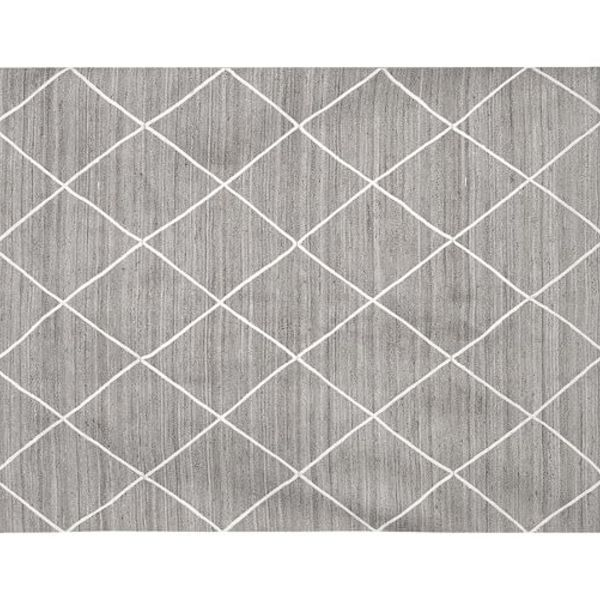Jute lattice rug gray ivory c