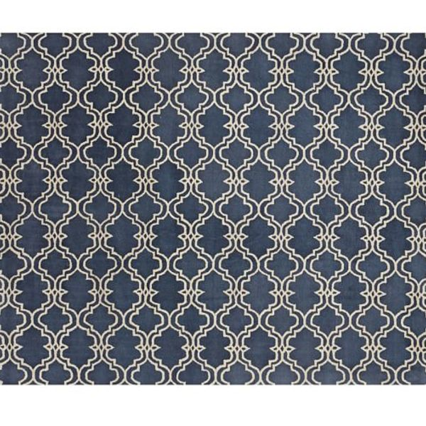 Scroll tile rug indigo blue c