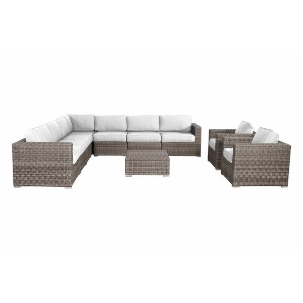 Lazaro 10 piece sectional seating group with sunbrella cushions
