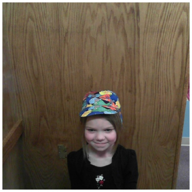 bess in a fish hat