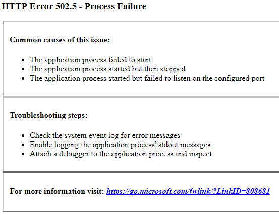 HTTP Error 502.5 - Process Failure