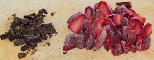 Strawberries and chocolate toppings for high protein cheescake recipe