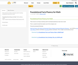 Foundational Facts Fluency for Math