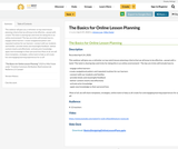 The Basics for Online Lesson Planning