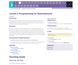 CS Discoveries 2019-2020: Interactive Animations and Games Lesson 3.1: Programming for Entertainment