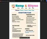 Romp & Rhyme Storytime Lesson Plan: Tweet, Tweet! Flap!