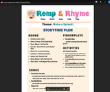 Romp & Rhyme Storytime Lesson Plan: Make a Splash!