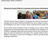 Enhancing Young Children's Language and Literacy Development Video Series  from The Ministry of Education