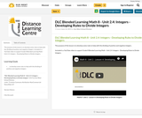DLC Blended Learning Math 8 - Unit 2.4: Integers - Developing Rules to Divide Integers