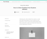 Teach Design: How to Collect Feedback from Students (Written)