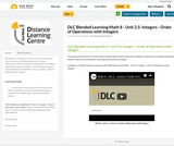 DLC Blended Learning Math 8 - Unit 2.5: Integers - Order of Operations with Integers
