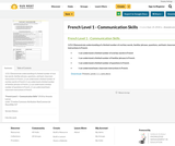 French Level 1 - Communication Skills