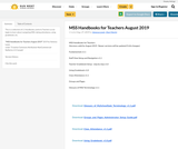 MSS Handbooks for Teachers August 2019