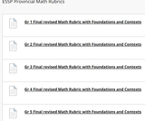 Saskatchewan Ministry of Education Provincial Math Rubrics