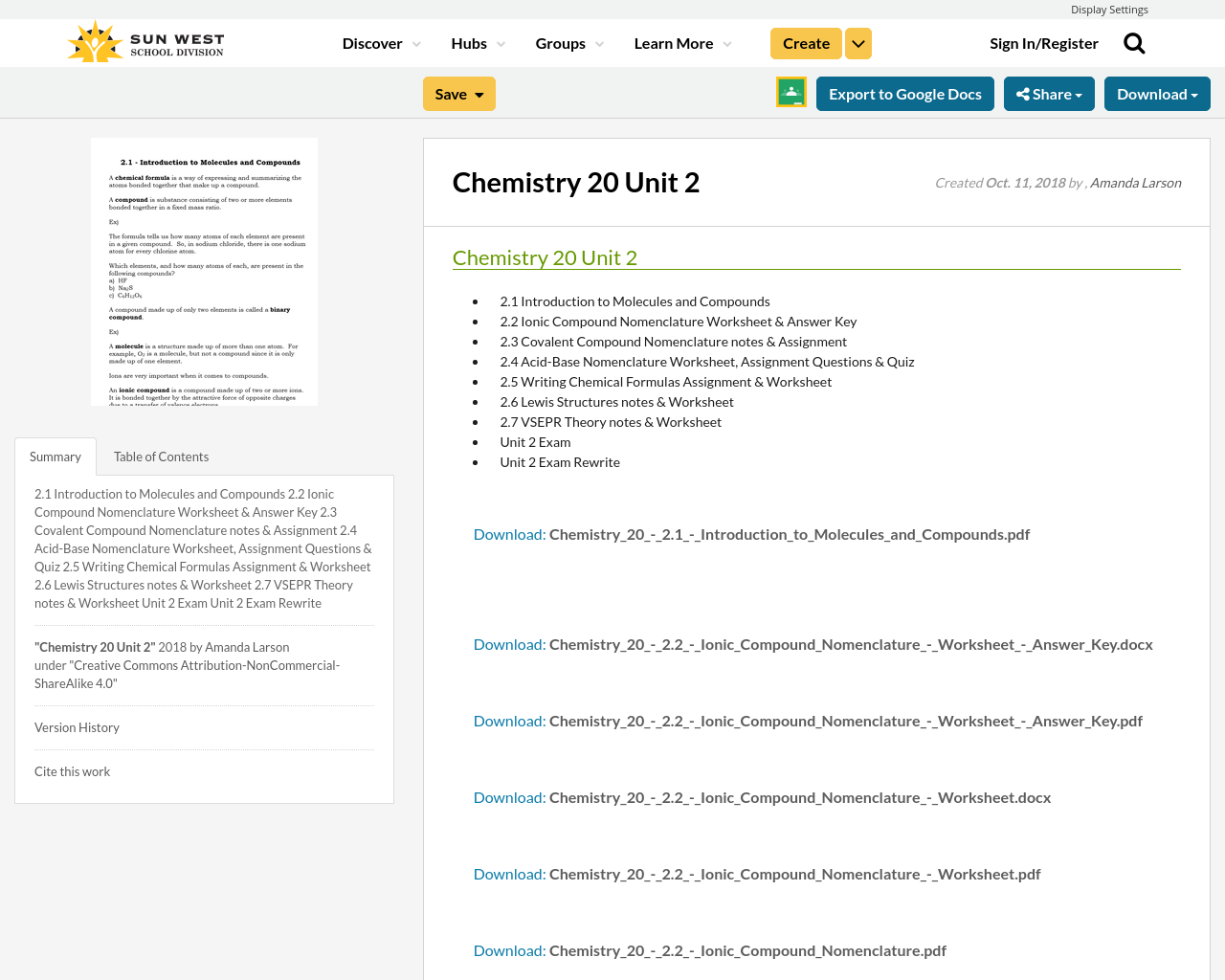 Chemistry 20 Unit 2 Resource Bank