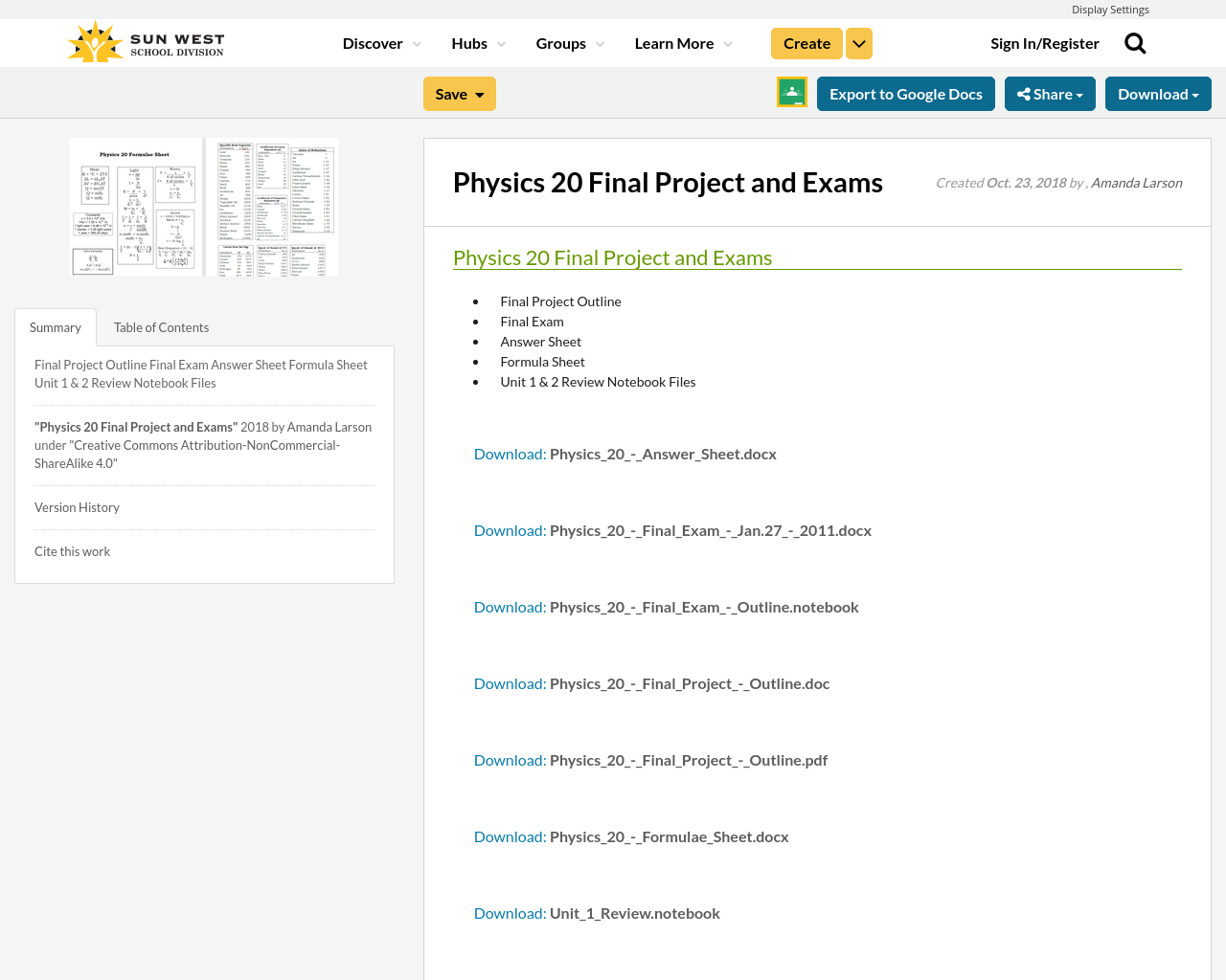 Physics 20 Final Project and Exams | Resource Bank