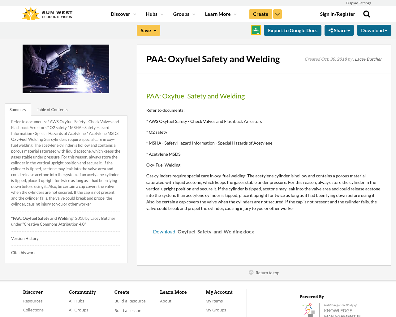 PAA: Oxyfuel Safety and Welding | Resource Bank