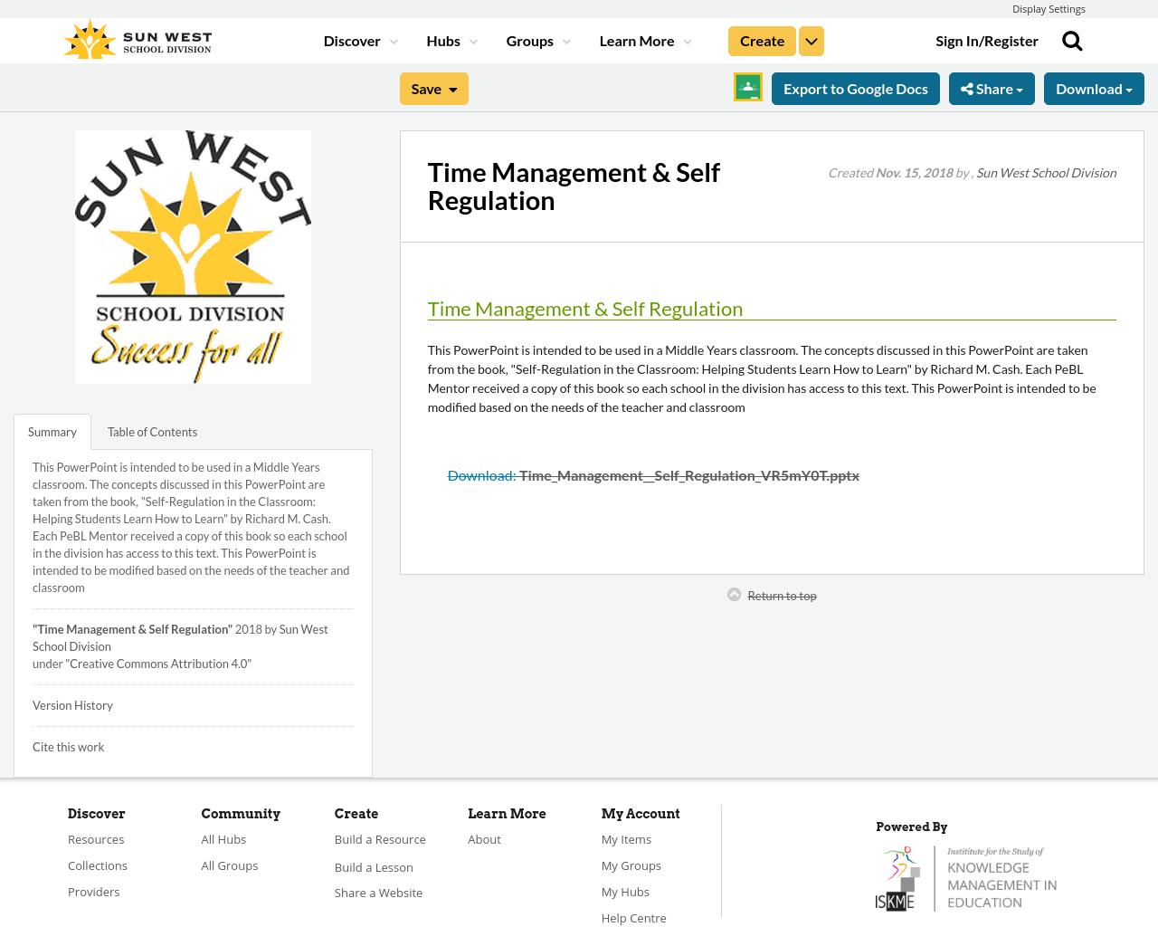 Time Management Self Regulation Resource Bank
