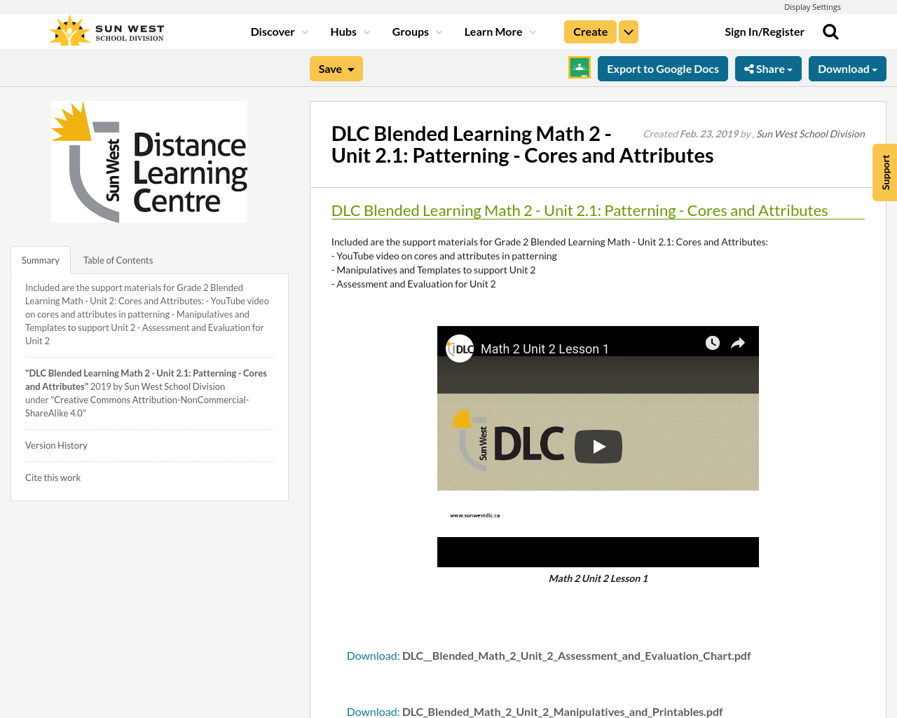 DLC Blended Learning Math 2 - Unit 2 1: Patterning - Cores