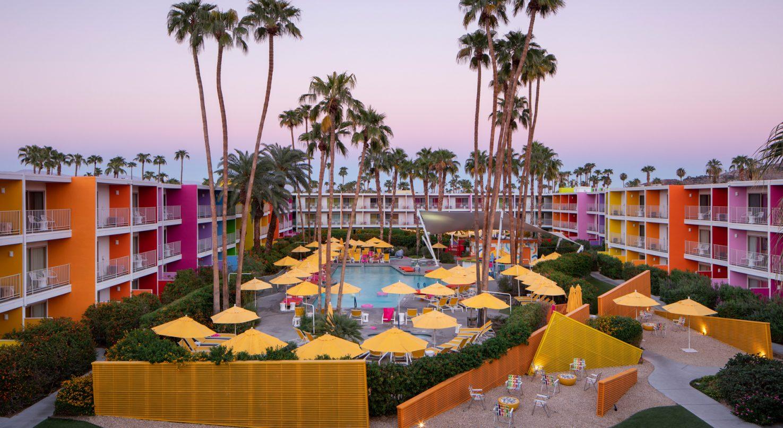 The Saguaro resort's colorful pool area