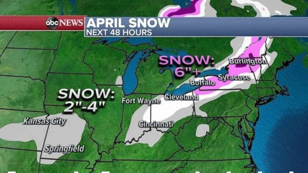 Late season cold blast and snow moves East as record lows expected South