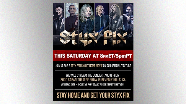 """Styx presenting new """"Styx Fix Live"""" streaming concert this Saturday featuring 2020 LA-area show"""