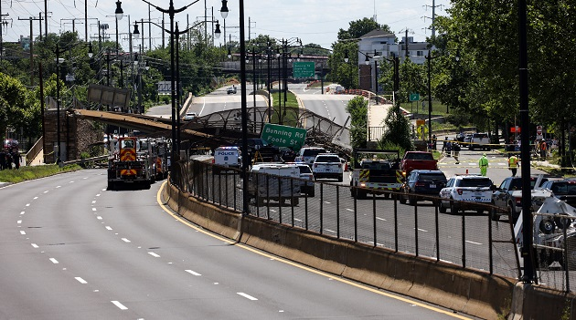 5 people hospitalized after pedestrian bridge collapses onto DC highway