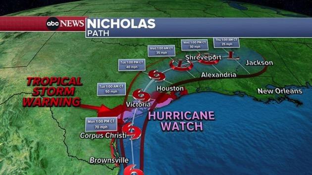 Nicholas makes landfall as Category 1 hurricane in Texas: Latest forecast