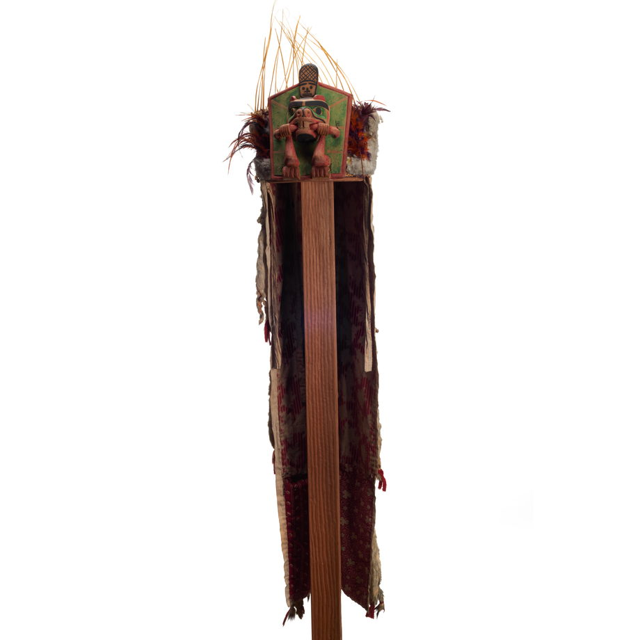 Yaxwiwe' or Beaver Headdress, beaver on frontlet shown with twig in mouth, tail rising above, long ermine and cloth head cover, sea lion whisker crown