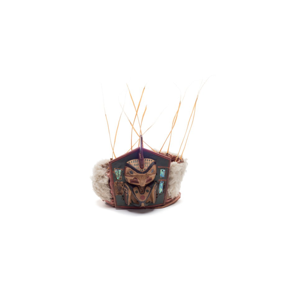 Yaxwiwe' or killer whale frontlet, pentagonal shape, sea lion whiskers and fur trim, abalone inlays