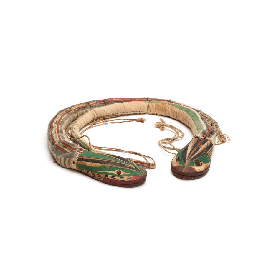 Belt in the shape of a snake in two parts, with two heads, striped cloth band, carved wooden heads, tied with cords