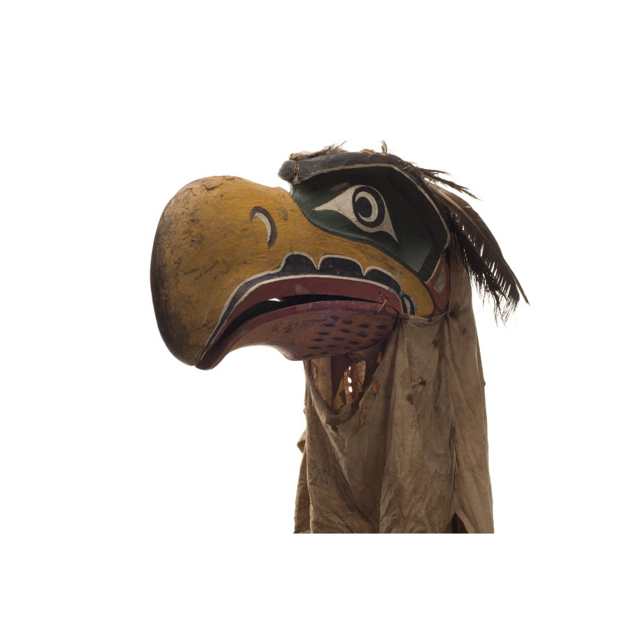 Kwigwis or eagle mask, yellow beak, blue patches around eyes, red outline mouth, black cotton head covering
