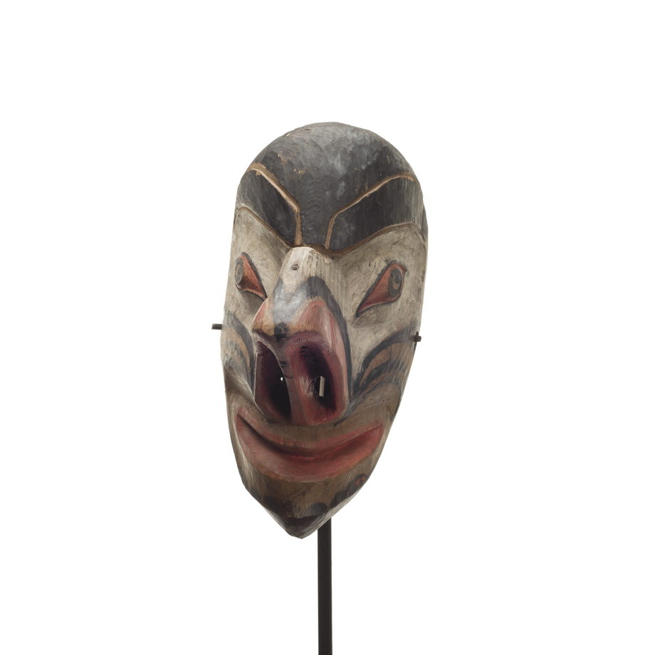 A Nułamał or fool dancer, thin long face, comical expression, very large hooked and upturned nose with long nostrils