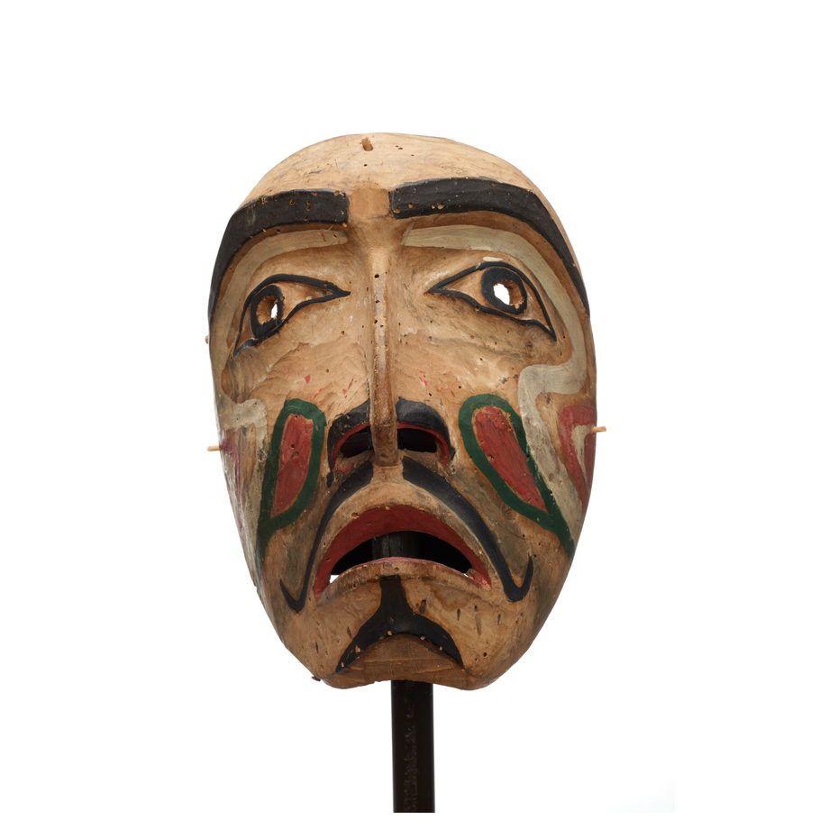 Hayakantalał or speaker mask, carved cedar, largely unpainted with black, red, white and green markings