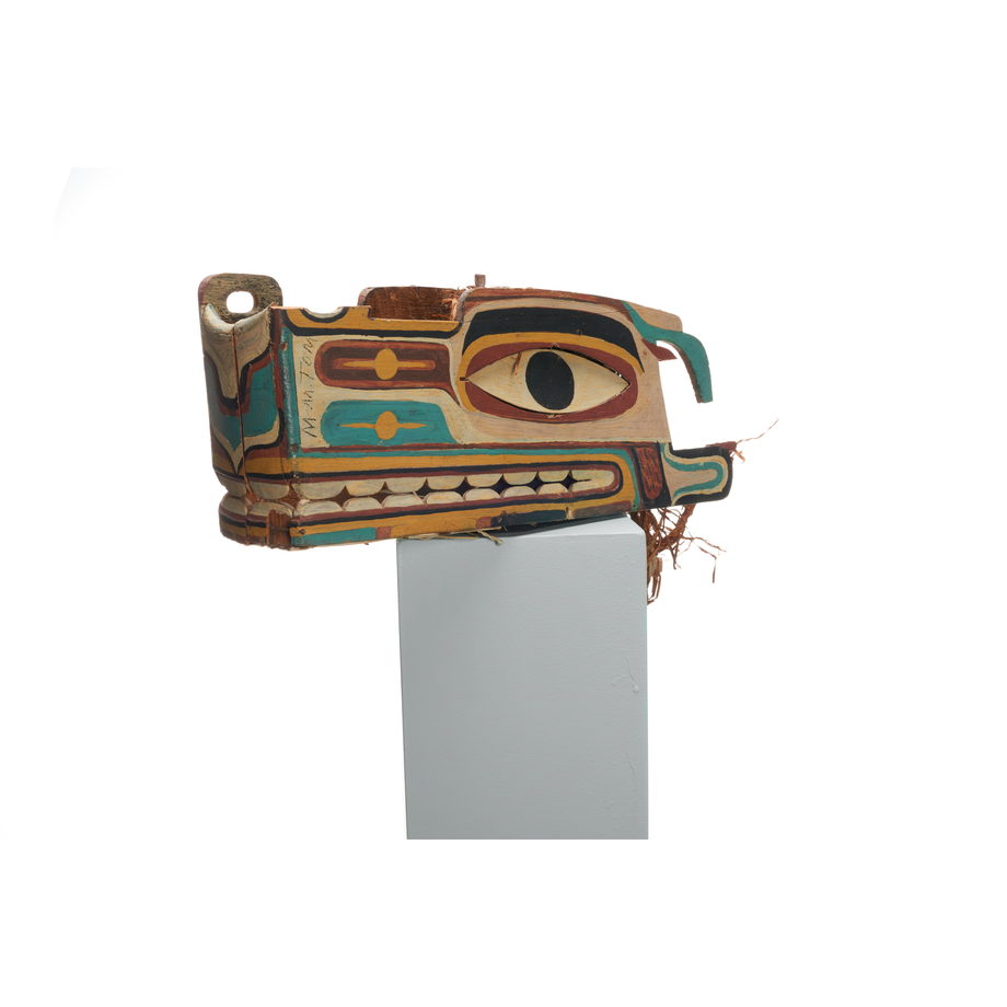 Haietlik or sea serpent mask, painted with geometric designs in a wide range of colours
