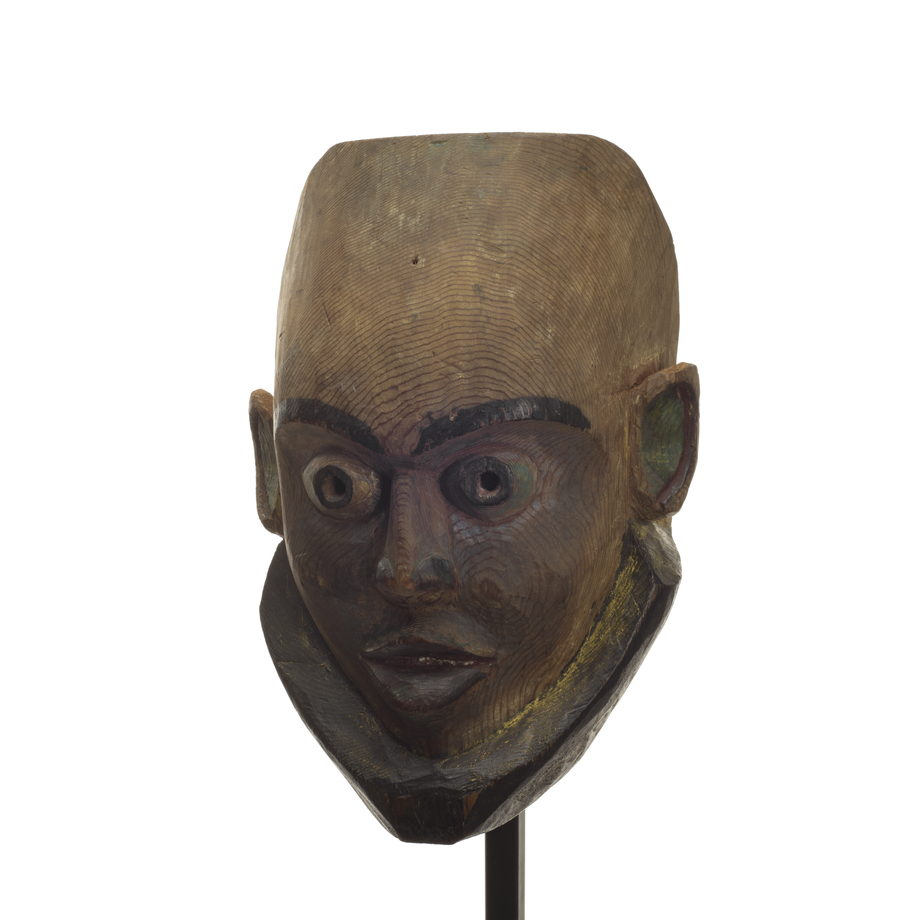 Gangananamis or children of the land mask, tall forehead, elfin appearance, mostly unpainted