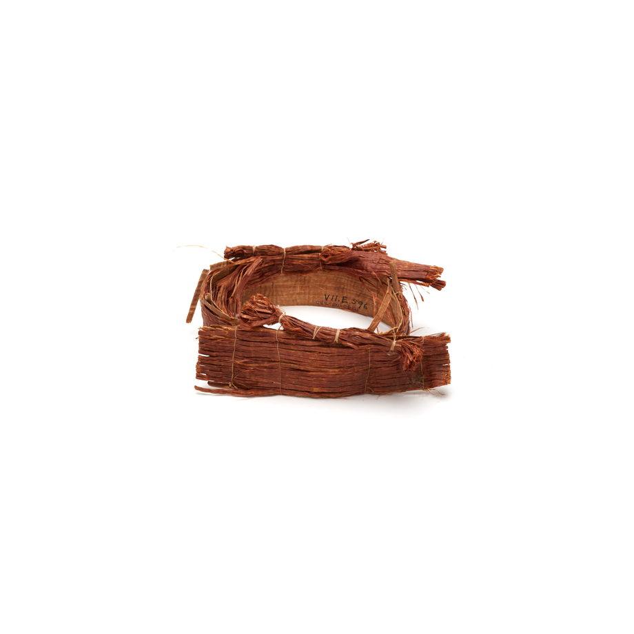 Tłagakwame' or cedar bark headpiece, comprising rows of cedar bark sewn to an inner cedar bark ring