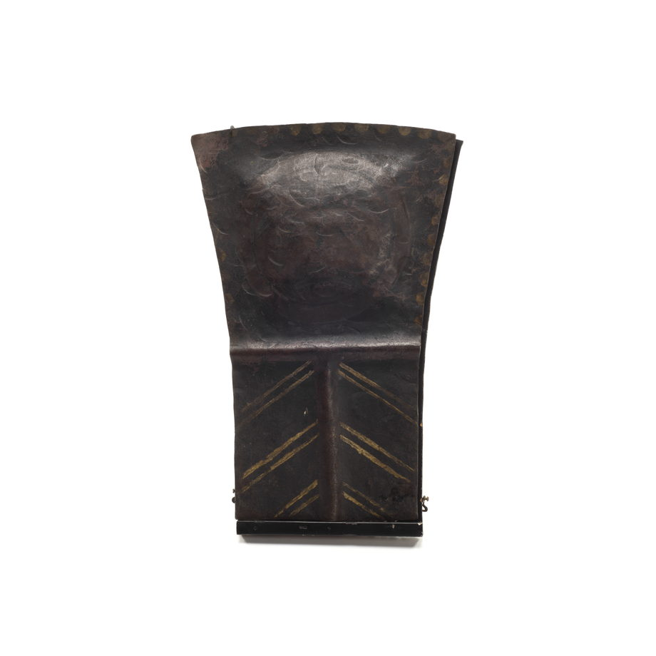 Tłakwa Copper, small and short in size, fine condition with three rows of chevron pattern decoration below an embossed cross shape