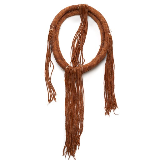Tłagakwaxawa'yi or neck ring, part of cedar bark regalia, two bands of woven and twisted cedar bark cords in oval shape with four groups of tasseled cords