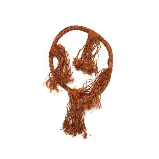 Tłagakwaxawa'yi cedar bark neck ring with short braided tassels in four bundles, part of Hamatsa regalia