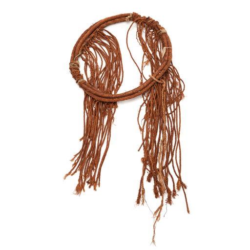 Tłagakwaxawa'yi cedar bark neck ring with long braided tassels part of Hamatsa regalia