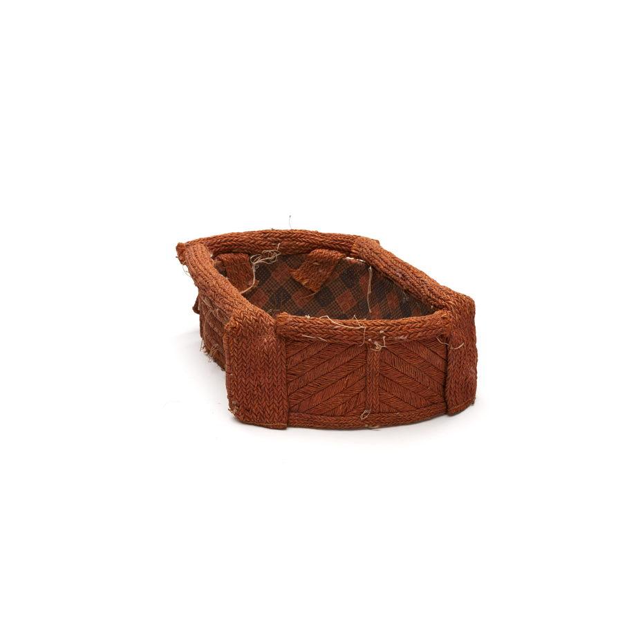 Tłagakwame' or headpiece, squarish shape, complex pattern of woven red cedar