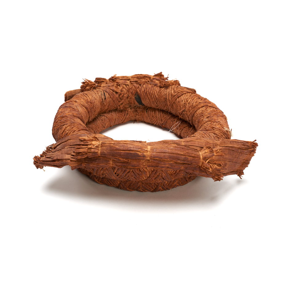 Tłagakwame' or cedar bark headpiece, comprising two bands of woven cedar bark sewn together, two bundles of cedar strips at front and back